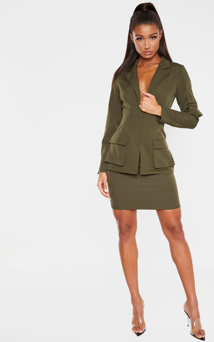 Khaki Woven Pocket Mini Skirt 5