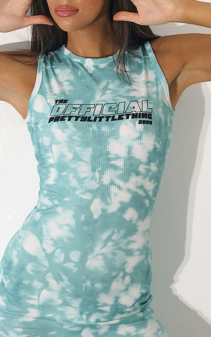 PRETTYLITTLETHING Teal Official 2020 Tie Dye Racer Neck Rib Bodycon Dress 4