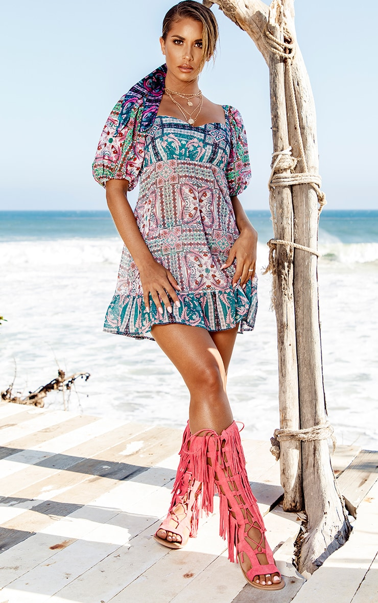 Green Mosaic Chiffon Frill Hem Beach Dress 4