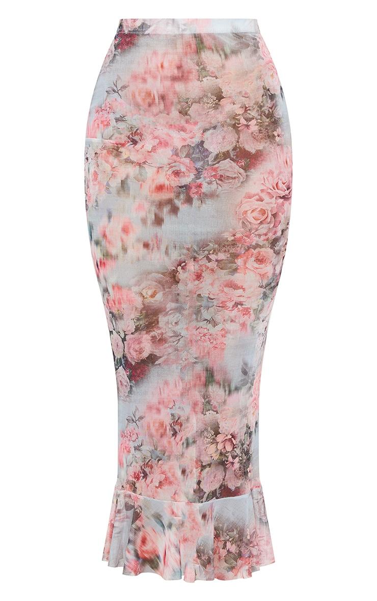 Pink Floral Print Mesh Peplum Hem Midaxi Skirt 5