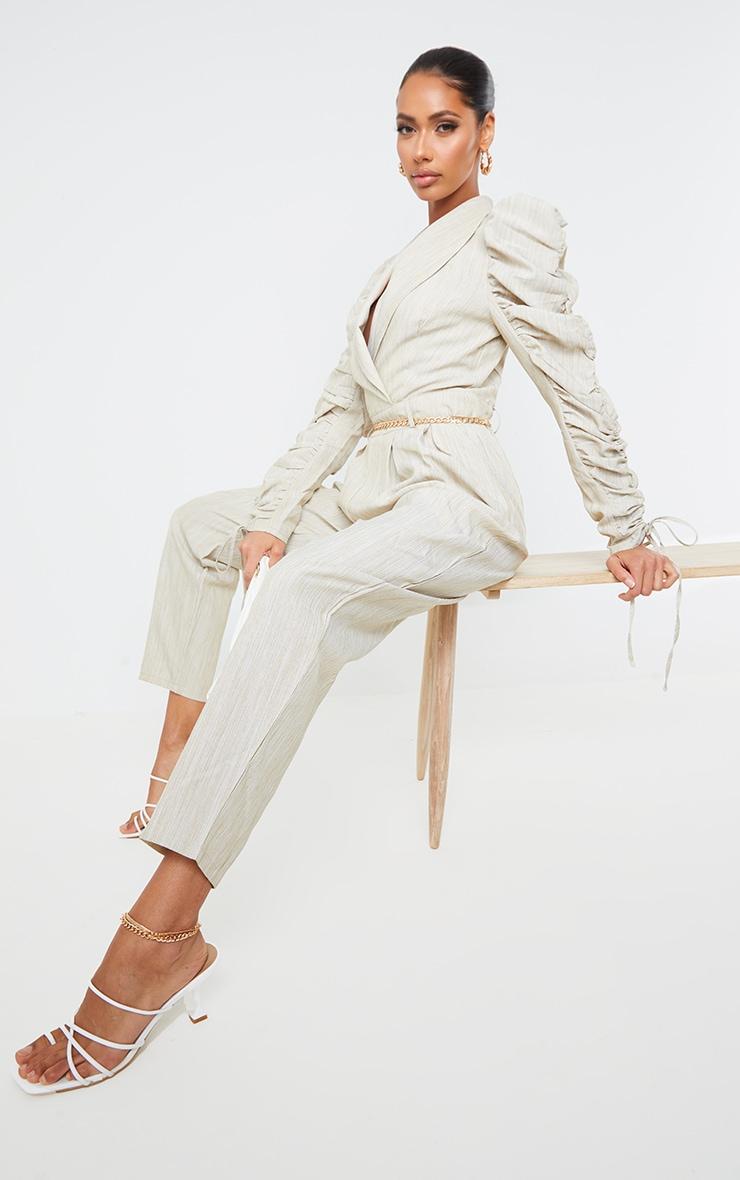 Beige Ruched Sleeve Blazer Jumpsuit 1