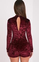 635362bd0c Hailey Berry Velvet Long Sleeve Playsuit - Jumpsuits   Playsuits ...