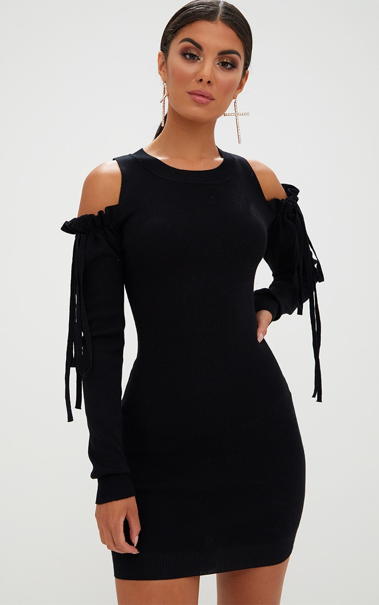 Black Fine Knit Cold Shoulder Dress 1