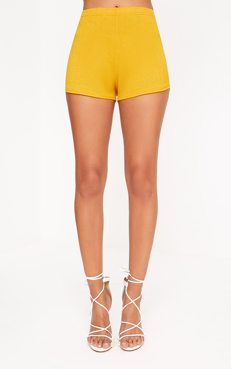 Mustard High Waisted Co-ord Shorts 2