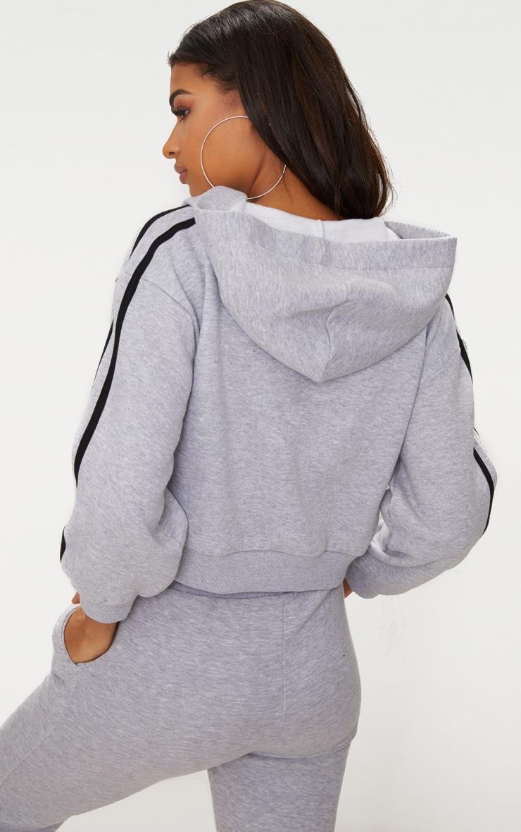 Grey Marl Crop Sport Stripe Hoodie  2