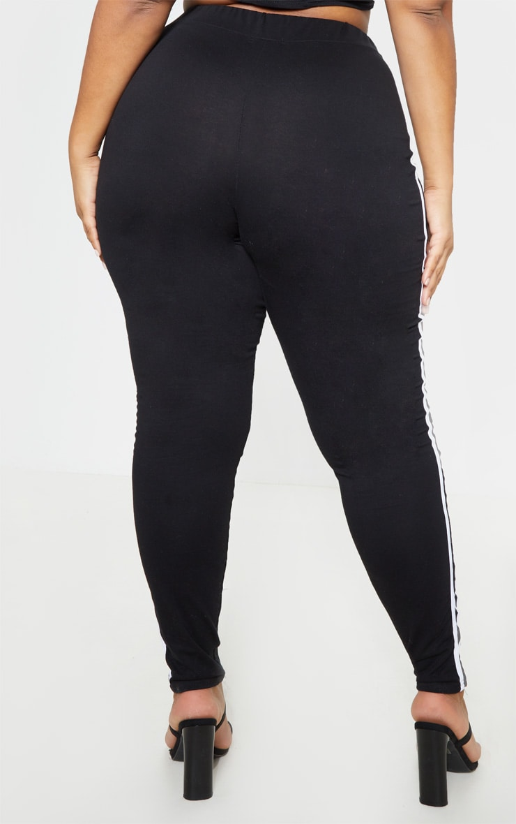 Plus Black Sports Stripe Leggings 5