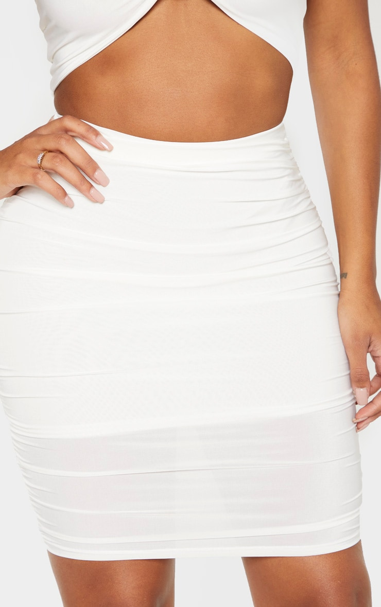 Shape Cream Ruched Bodycon Skirt 6