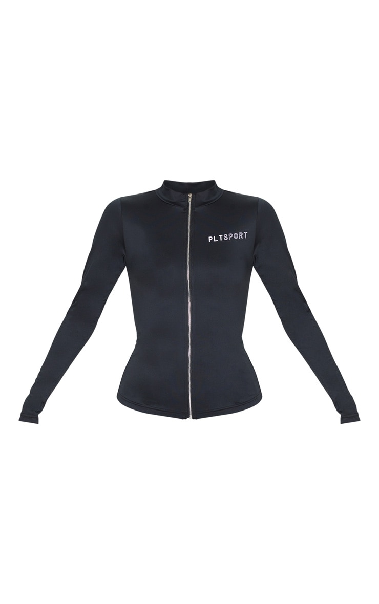 PRETTYLITTLETHING Black Zip Up Sports Jacket 3