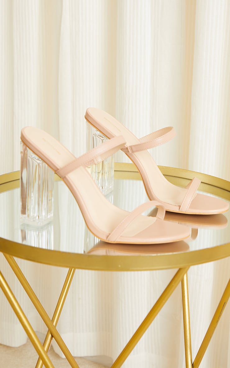 Nude WIDE FIT PU Patent Double Strap Clear Block High Heels 3