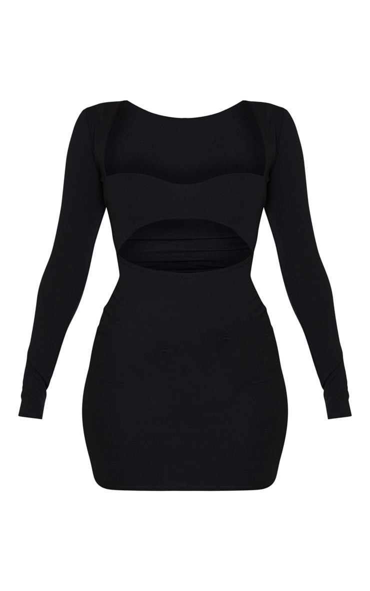 Black Long Sleeve Cut Out Bust Detail Bodycon Dress 3