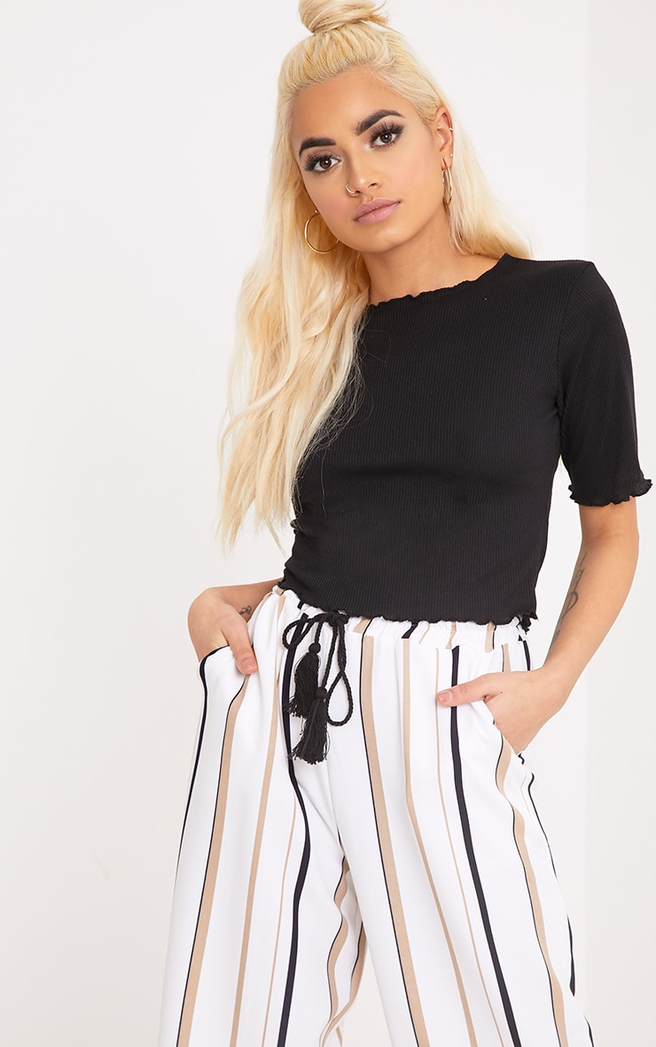 Kassie Black Frill Edge T Shirt 1