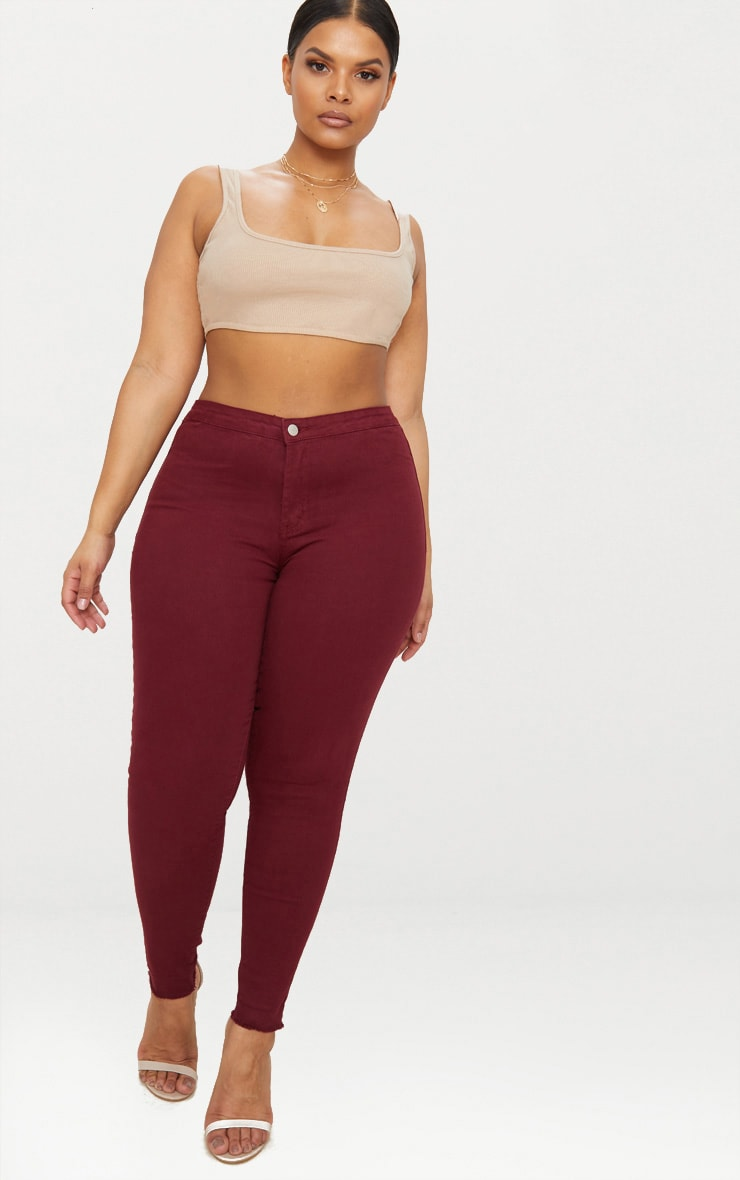 Plus Burgundy Disco Skinny Jeans 1