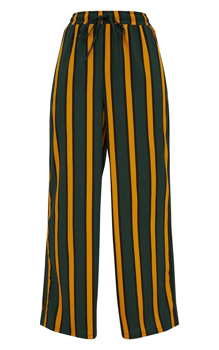 Emerald Green Stripe Wide Leg Trousers 3