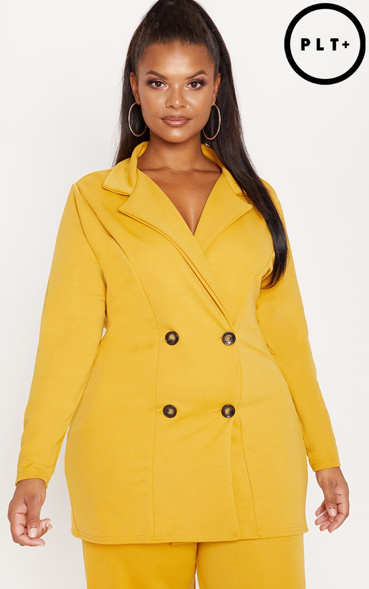 Plus Mustard Tortoise Button Oversized Double Breasted Blazer