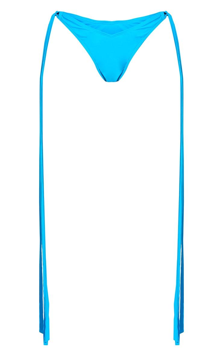 Blue High Leg Tassel Side Bikini Bottoms 8