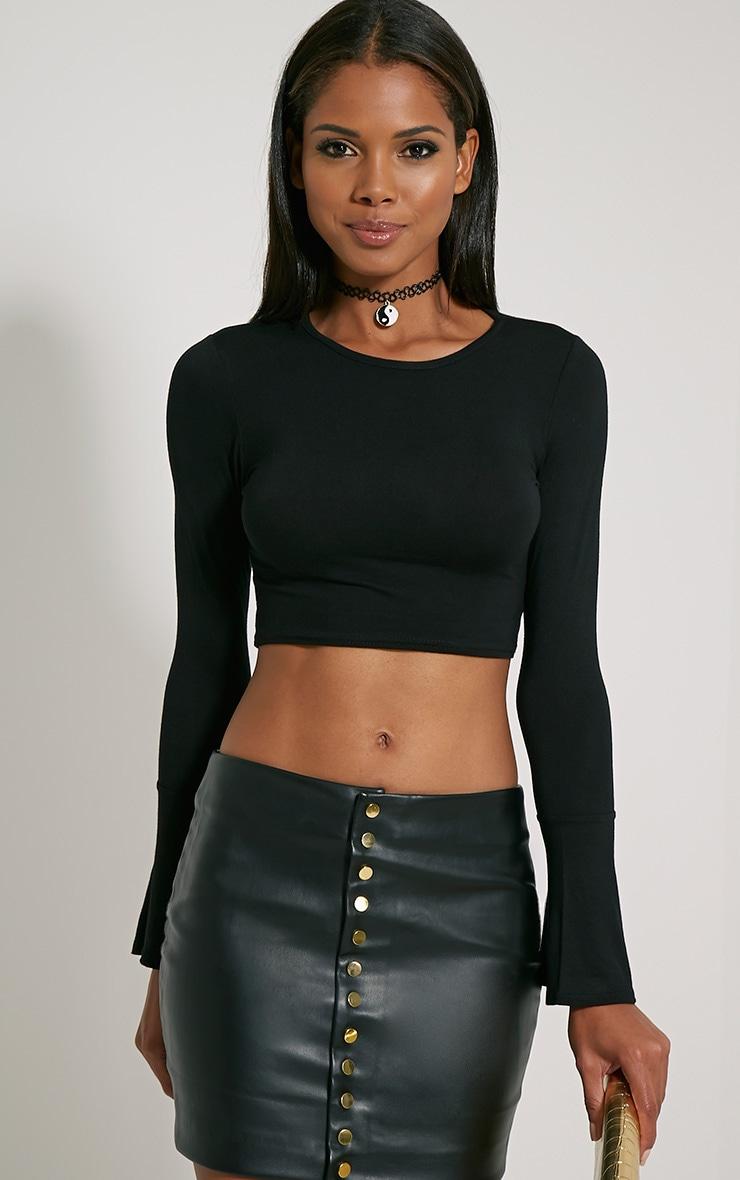 Katia Black Bell Sleeve Crop Top 4