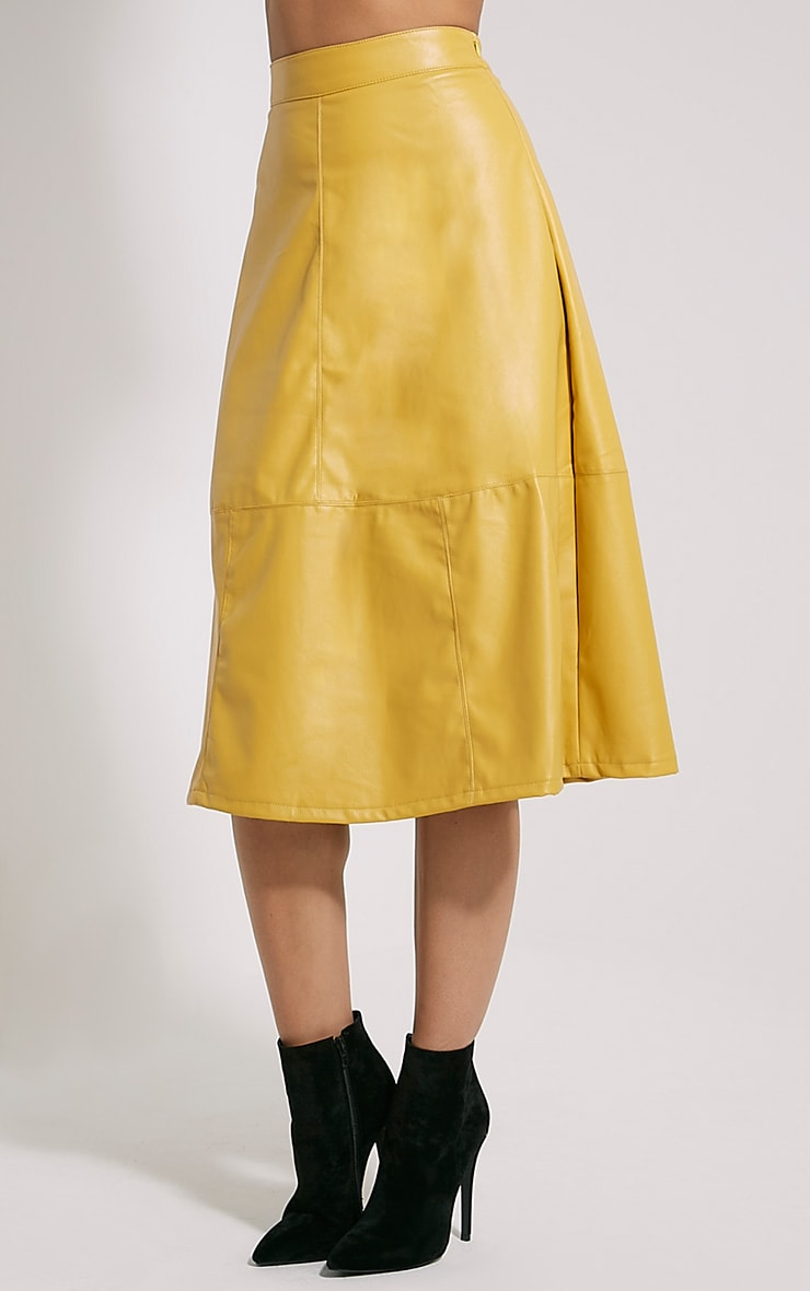 Alison Mustard Faux Leather A-Line Midi Skirt 3