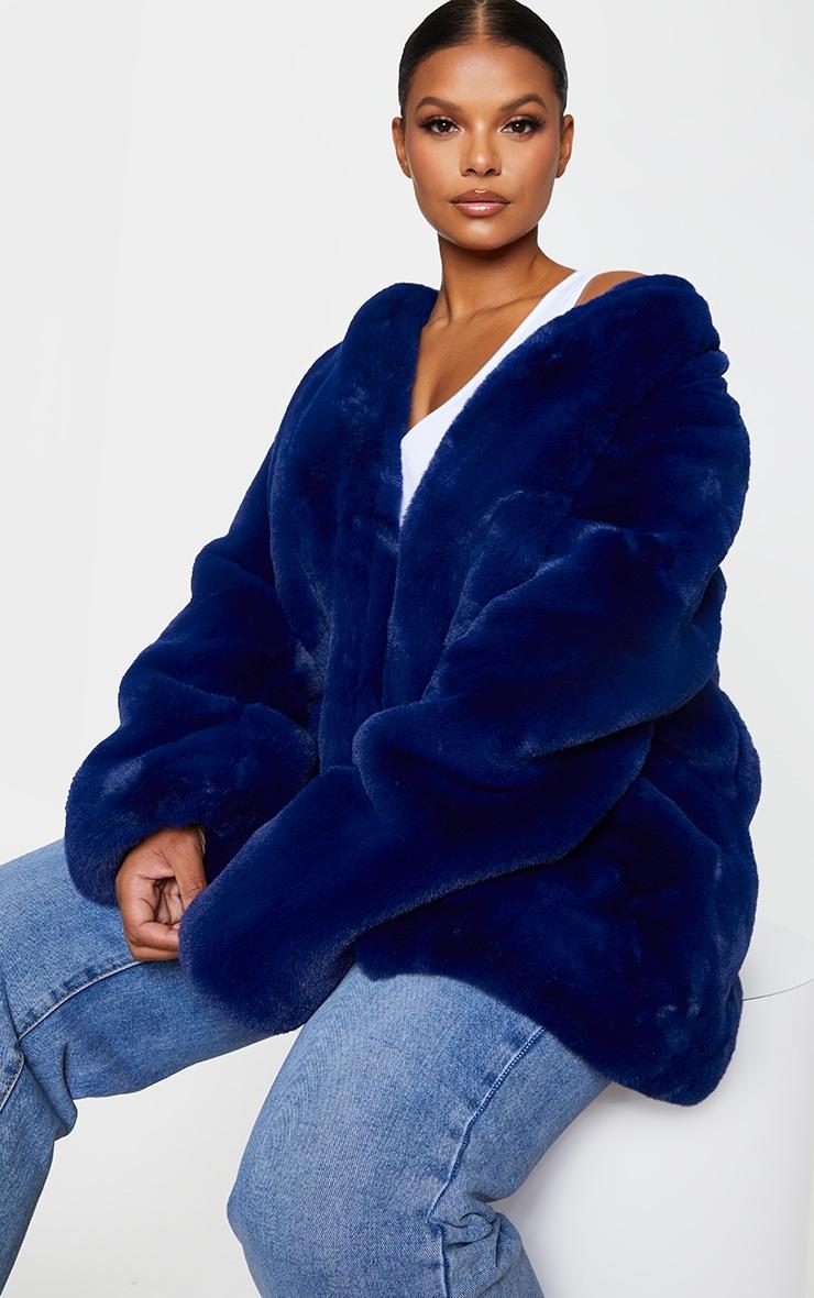 Plus Blue Faux Fur Coat 4