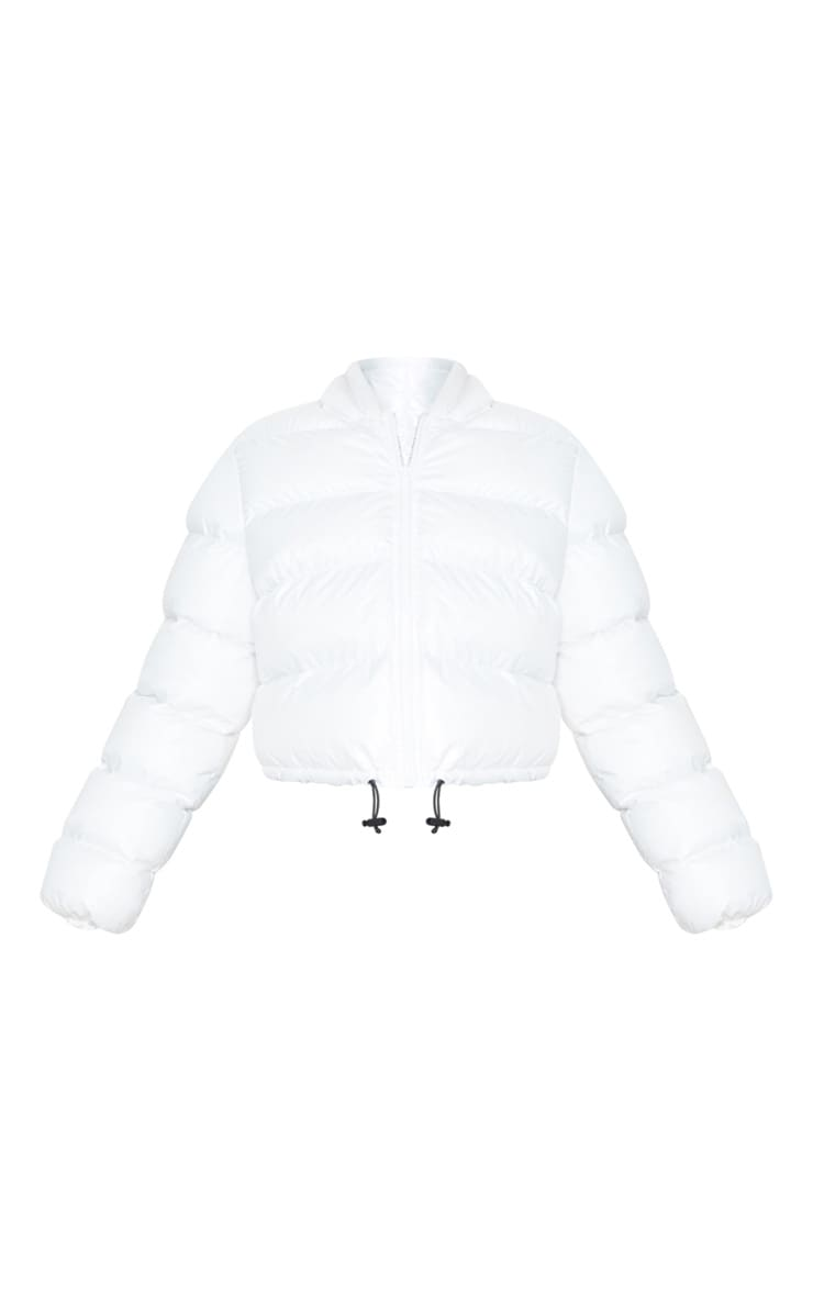 White Crop Toggle Detail Puffer 4