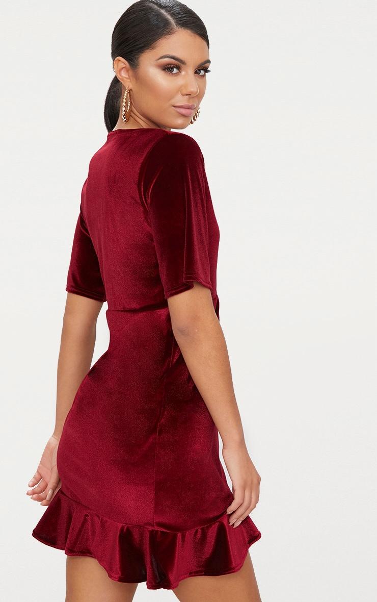 Burgundy Velvet Wrap Frill Detail Bodycon Dress 2