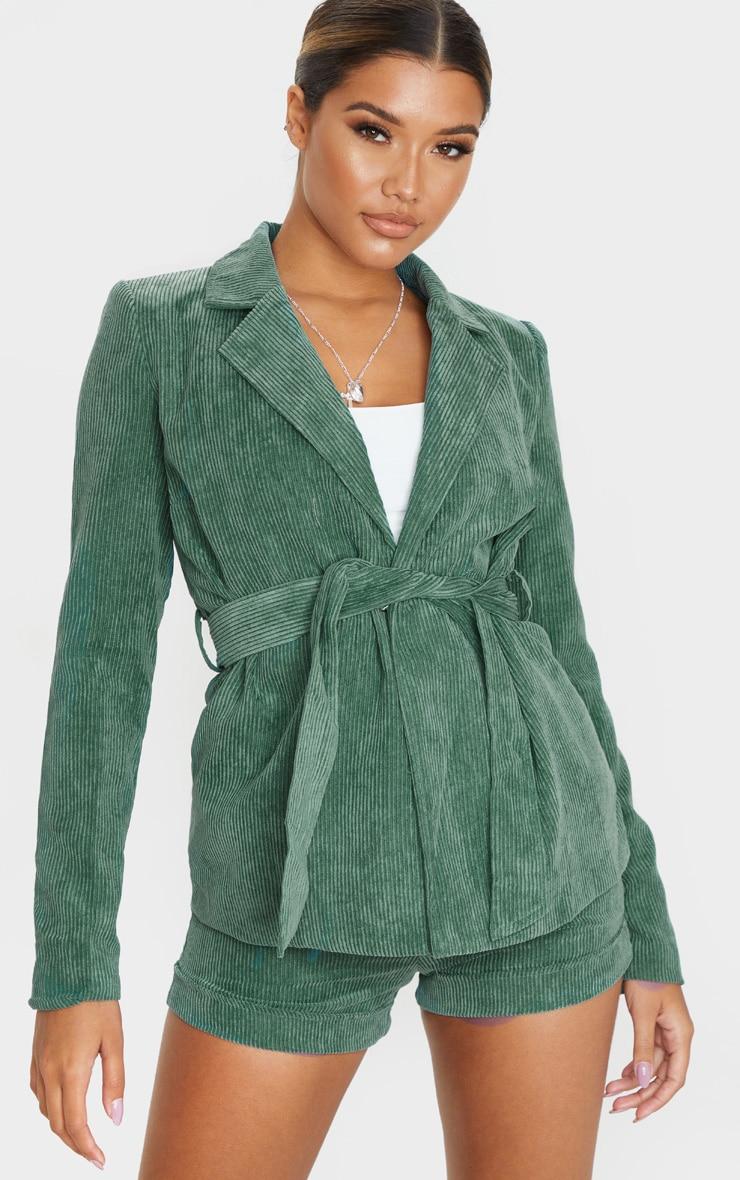Green Cord Tie Waist Blazer Jacket  1
