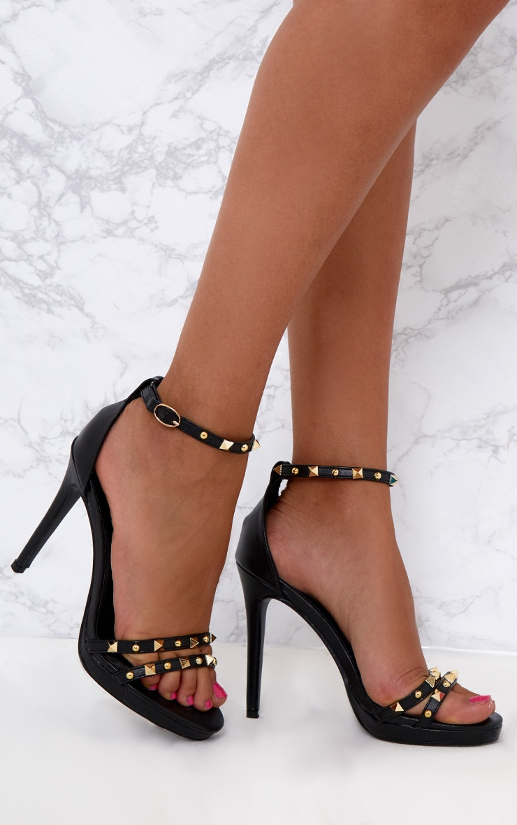 Black Studded Cross Strappy Heeled Sandals 1