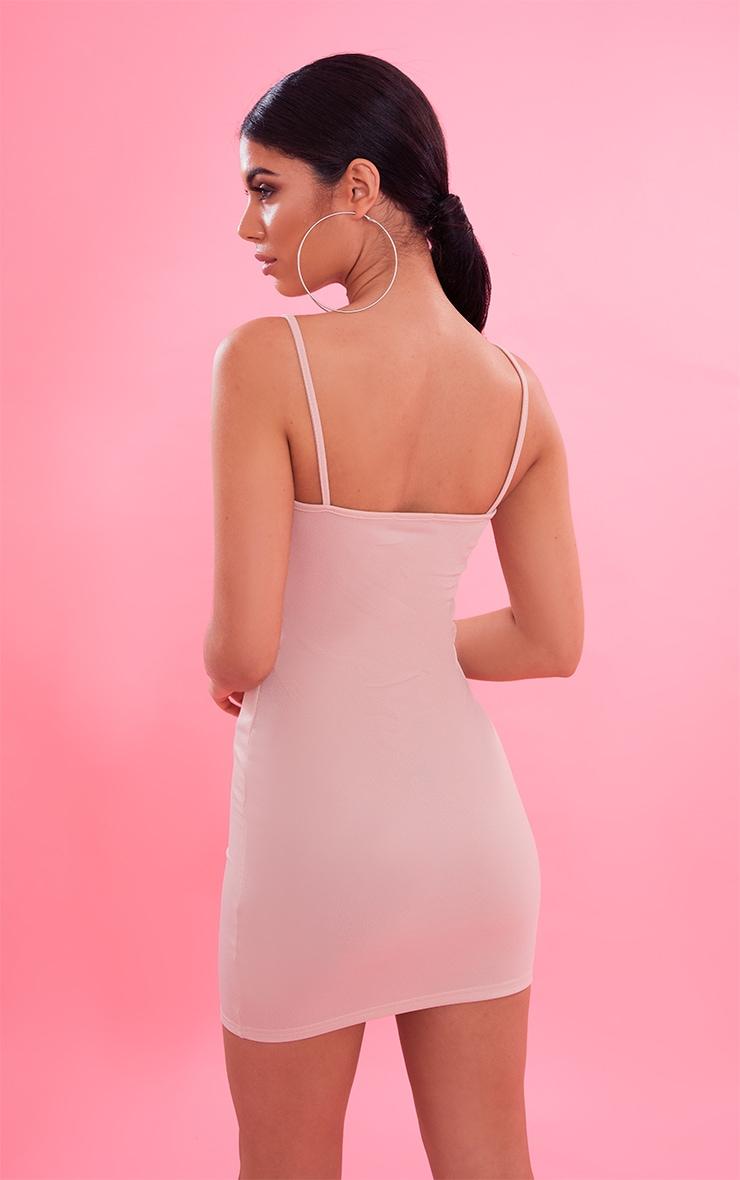 Nude Crepe Strappy Straight Neck Bodycon Dress 3