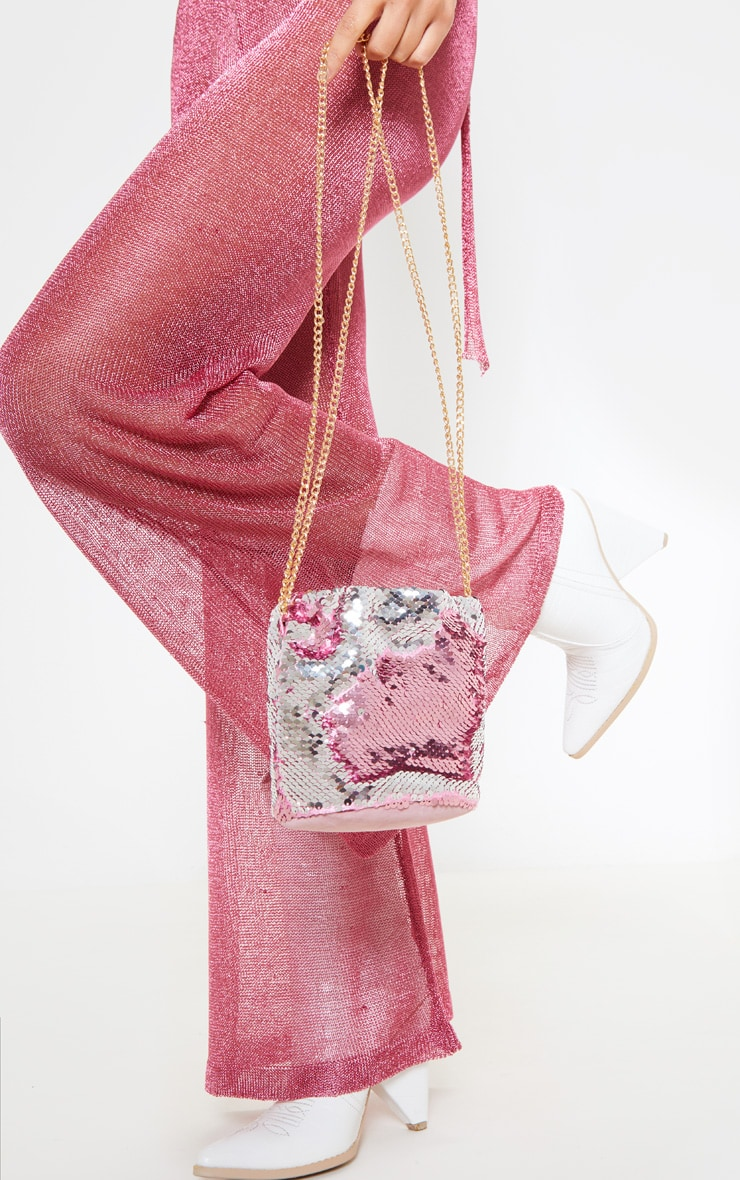 Pink Sequin Pouch Chain Strap Cross Body 1