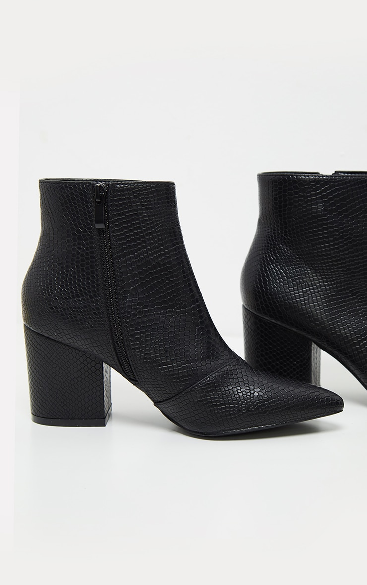 Black Low Block Heel Point Ankle Boot 5