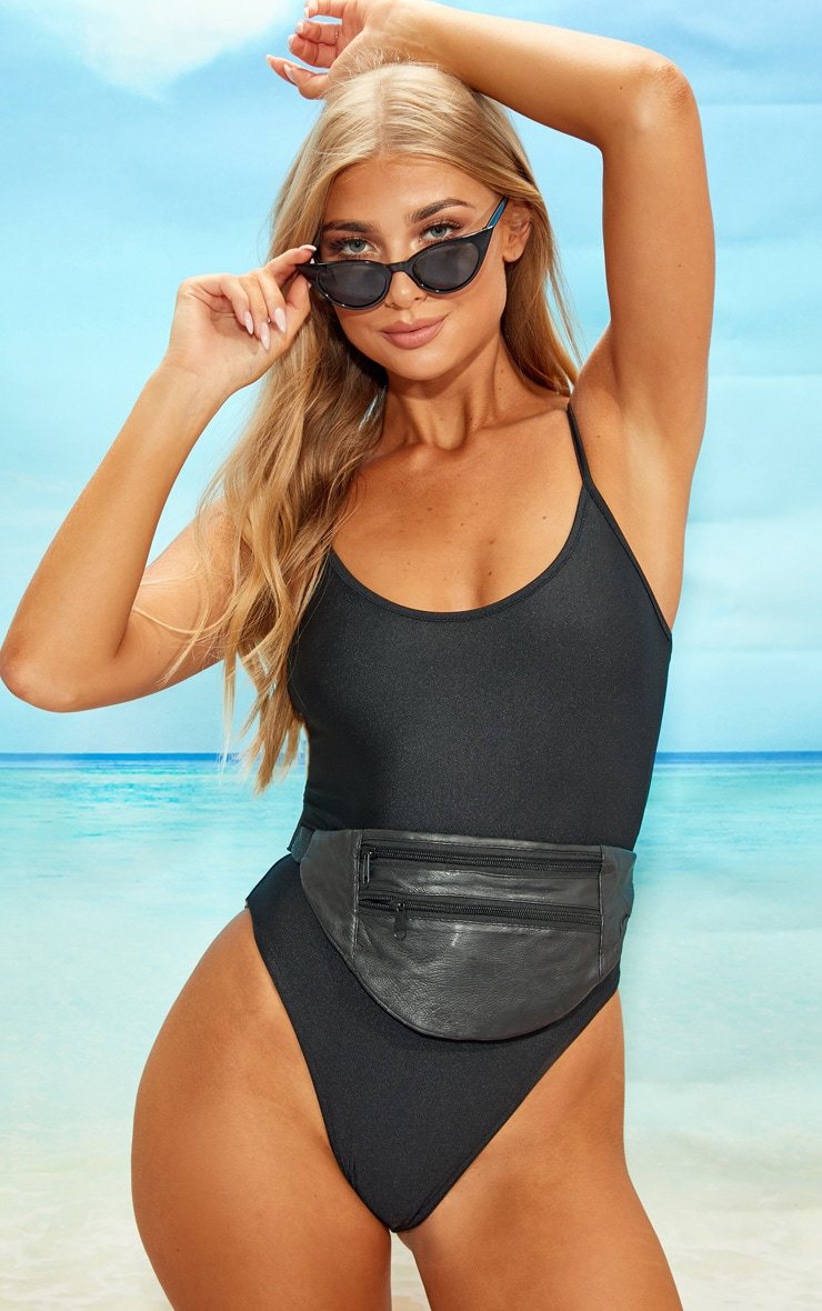 Black Straight Neck Swimsuit 1