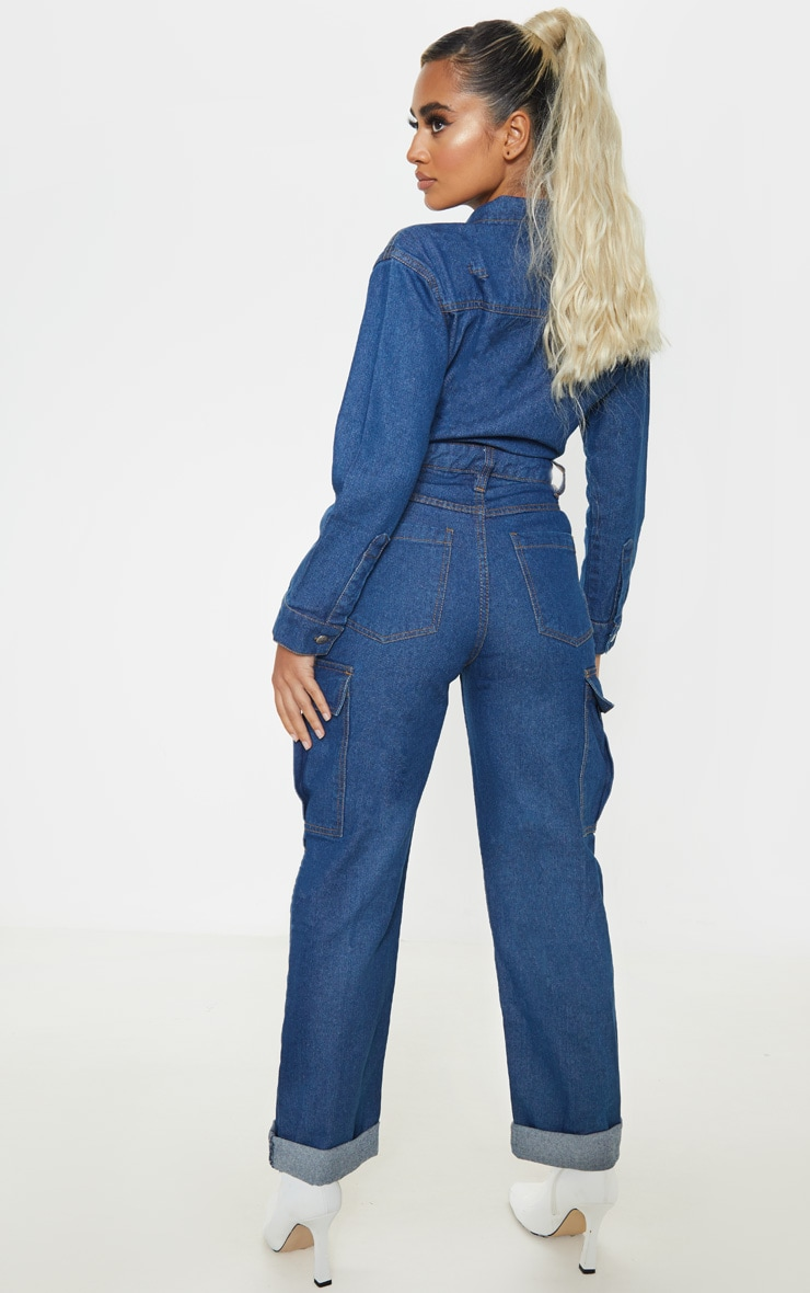 Petite Dark Wash Denim Wide Leg Jumpsuit 2