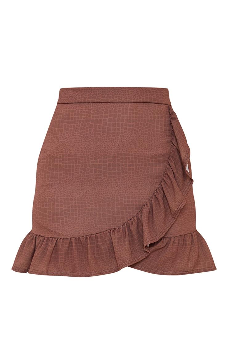 Chocolate Croc Frill Hem Wrap Mini Skirt 6
