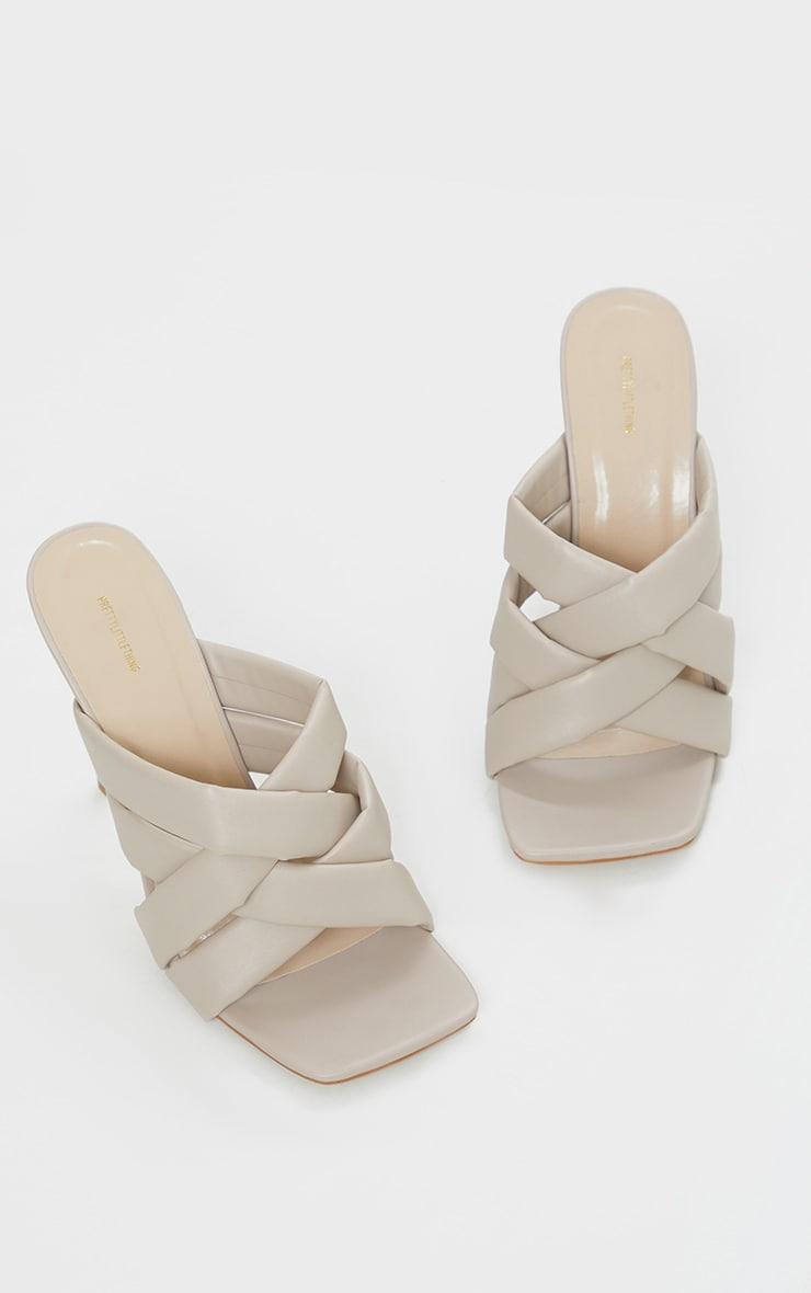 Cream Quilted Woven Strap High Mule Heels 3