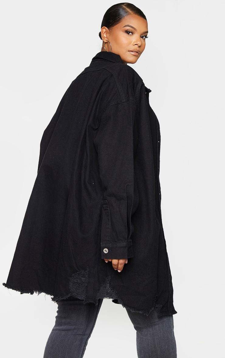 Plus Black Oversized Ripped Hem Denim Shirt 2