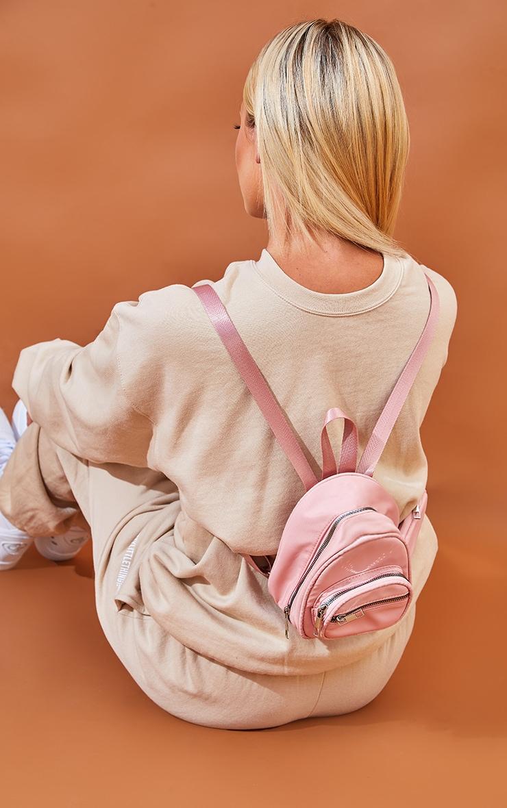 Pink Nylon Multipocket Backpack 1