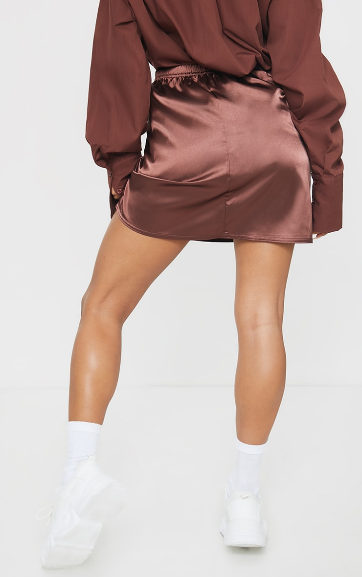 Chocolate Satin Bias Cut Mini Skirt 3