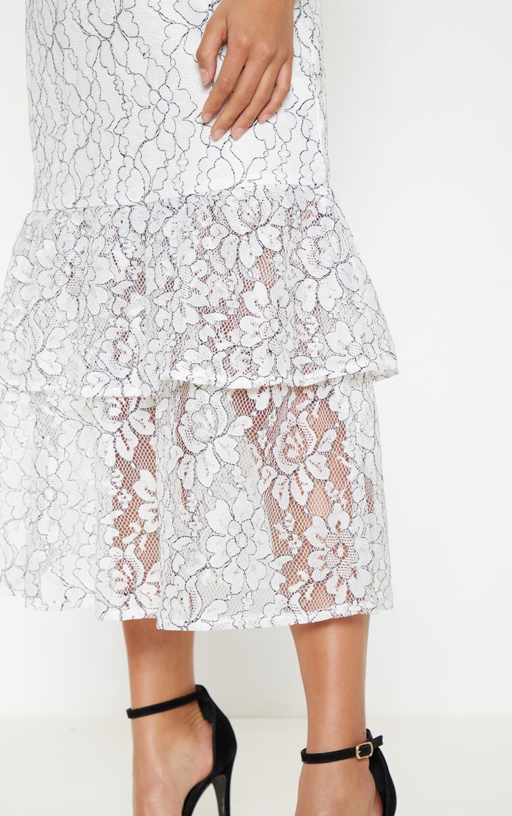 Petite White Off The Shoulder Multi Frill Midaxi Dress 4