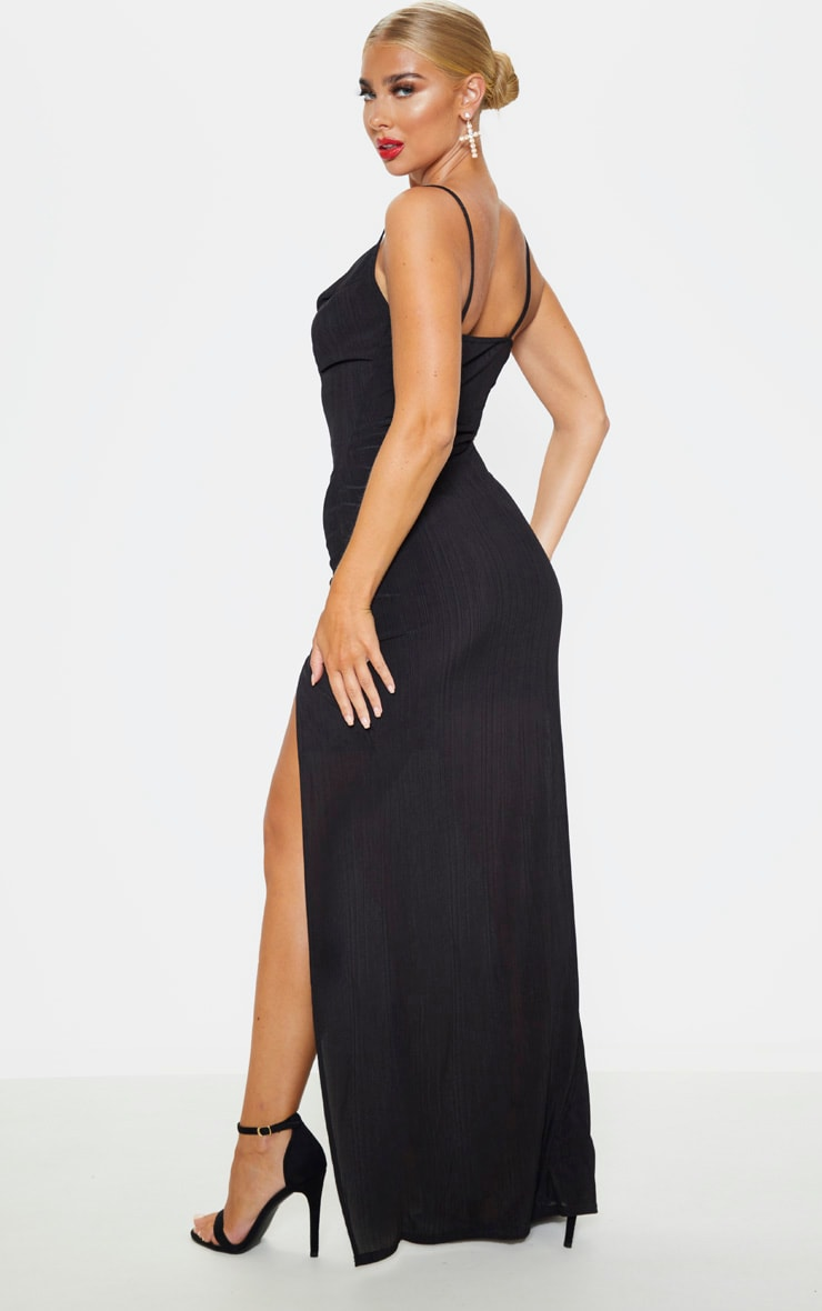 Black Strappy Plisse Cowl Neck Maxi Dress 2