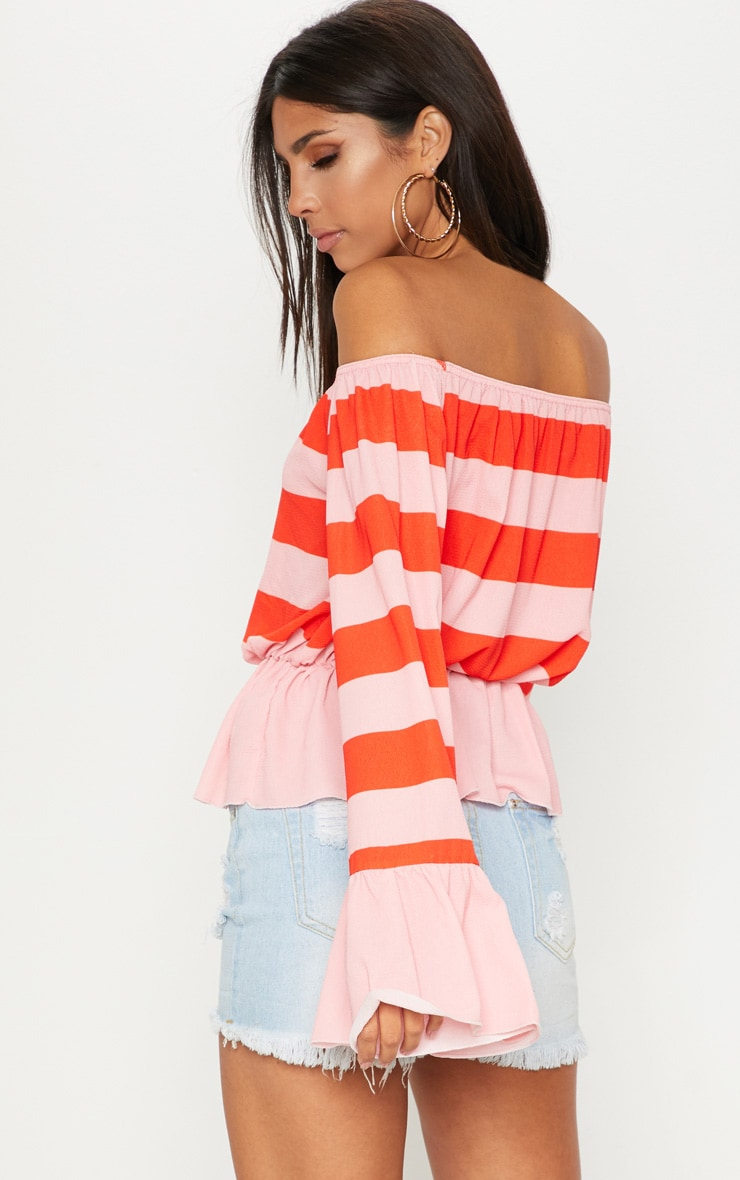 Pink Stripe Flare Bardot Sleeve Top 2