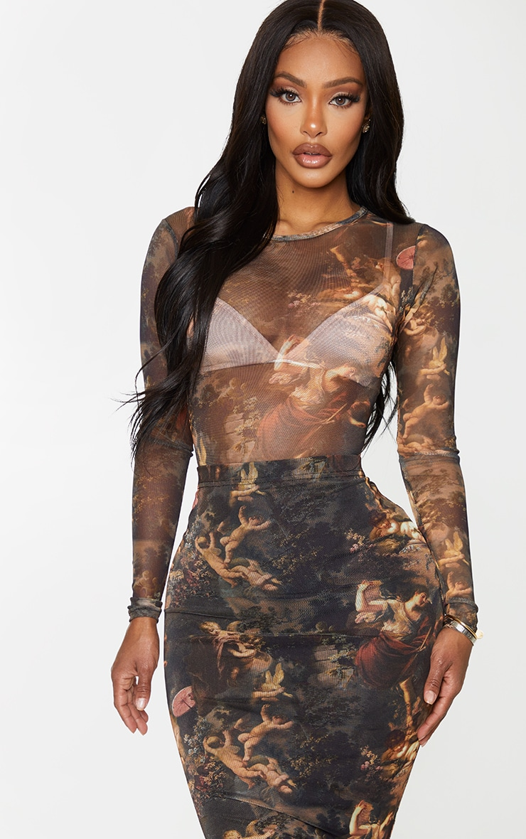 Shape Renaissance Printed Mesh Long Sleeved Bodysuit 1