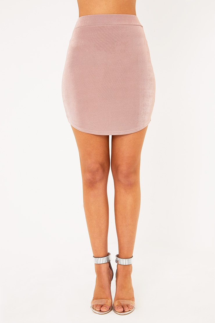 Lizandra Blush Disco Slinky Mini Skirt  2