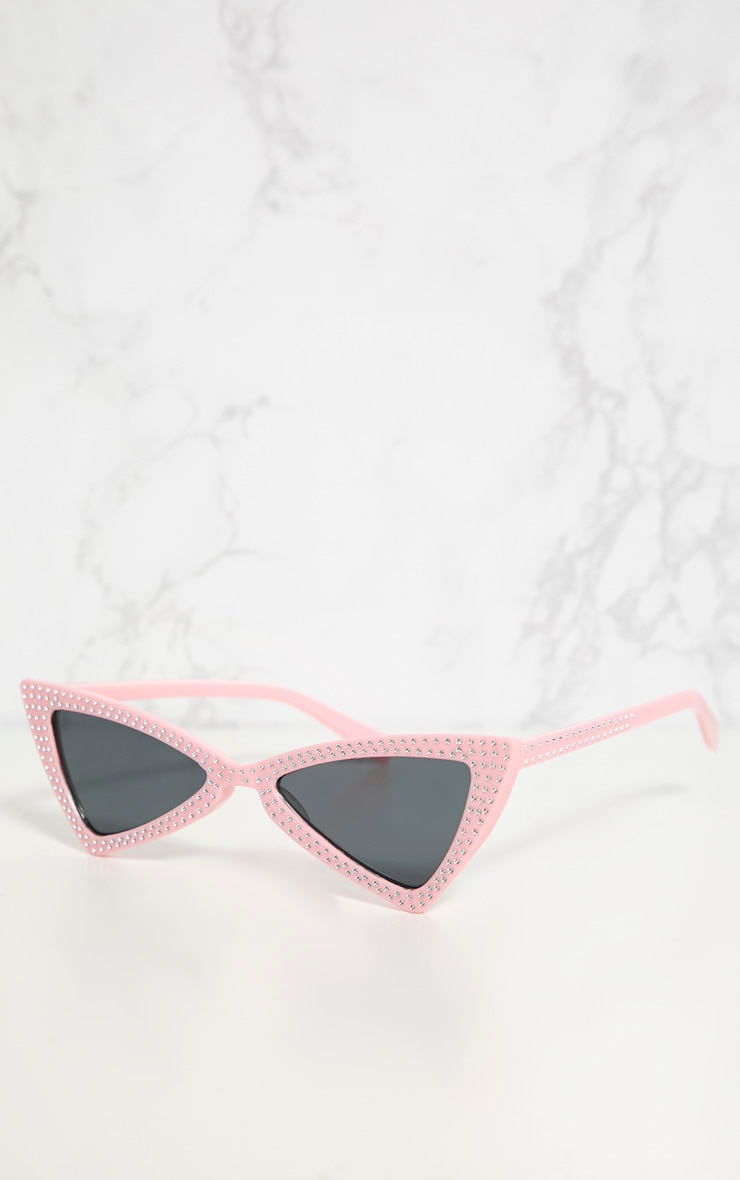 Pink Diamante Triangle Sunglasses 3