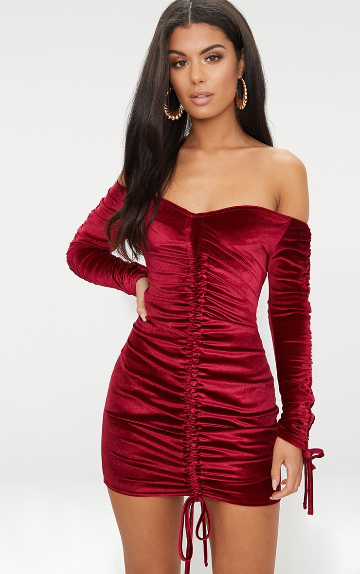 Burgundy Bardot Velvet Ruched Arm Ruched Front Bodycon Dress 1