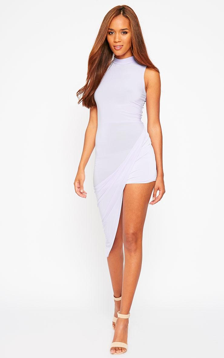 Prim Lilac Slinky Drape Asymmetric Dress 3