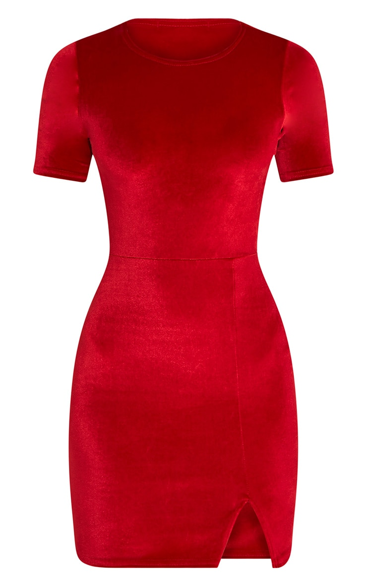 Freyah Red Velvet  Split Detail Bodycon Dress 3