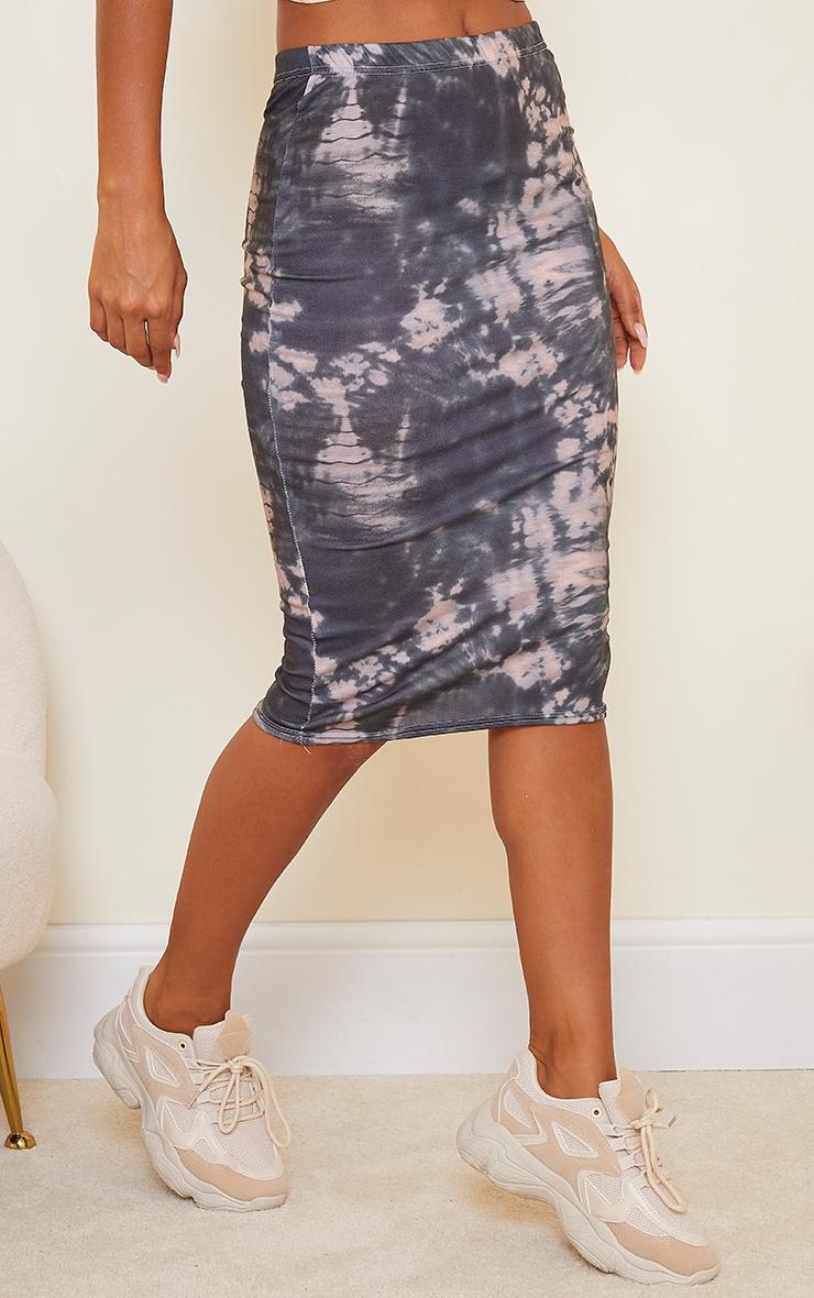 Black Tie Dye Printed Midi Skirt 2