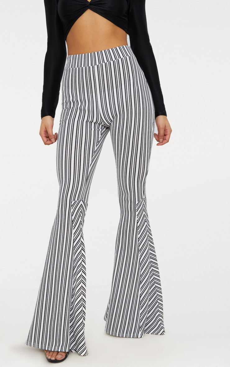 Black and White Stripe Extreme Flare Trouser 2