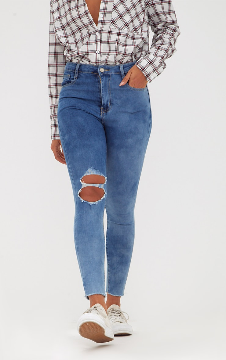 Mid Wash Double Knee Rip High Waisted Skinny Jean 2
