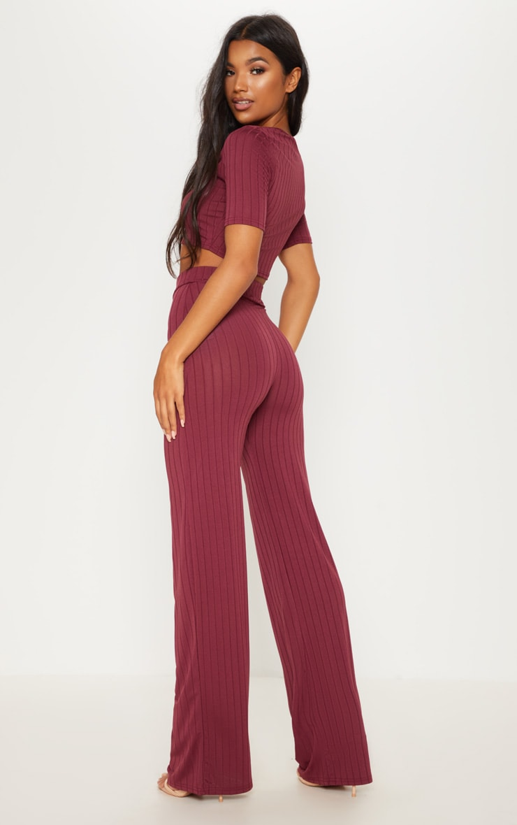 Burgundy Short Sleeve Rib Set 2