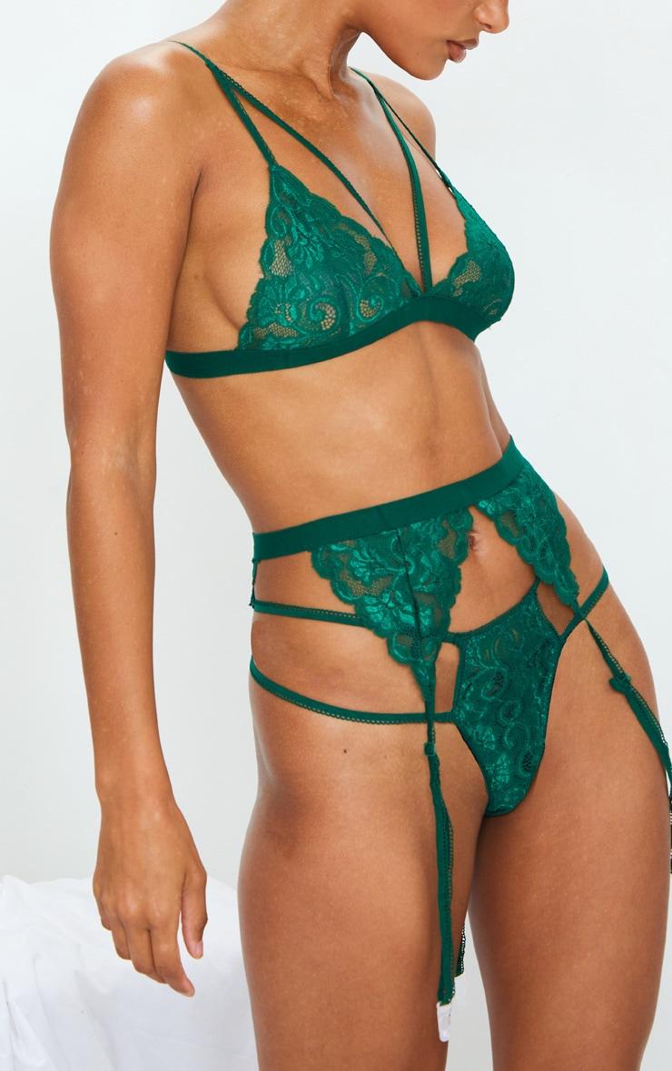 Emerald Green Lace Trim 3 Piece Lingerie Set 4